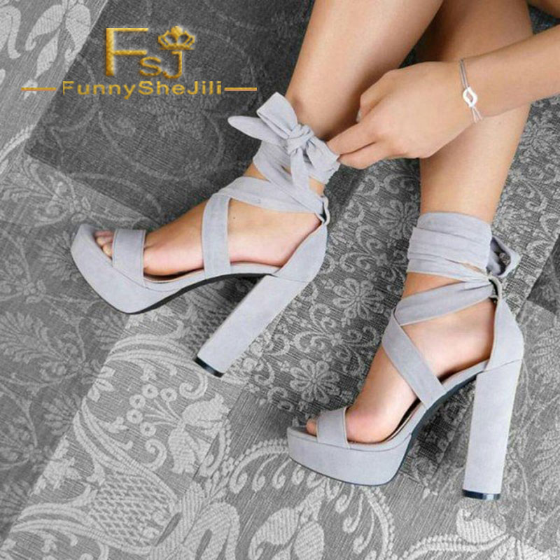 Grey Platform Chunky Heel Ankle Strap Strappy Sandals Narrow Band Summer Generous Incomparable Attractive Fashion Sexy FSJ