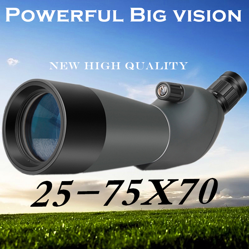 купить High quality 25-75X70 Porro BAK4 Prism Target Spotting Scope For Birdwatching High times Zoom Telescope Astronomical Free Tripod по цене 5439.12 рублей