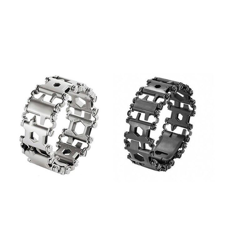 Men & Women Bracelets Stainless Steel Bracelet Link Design Multi-Function Hiking Camping Survival Outdoor EDC Tools 2017 NEW! survival bracelet camouflage
