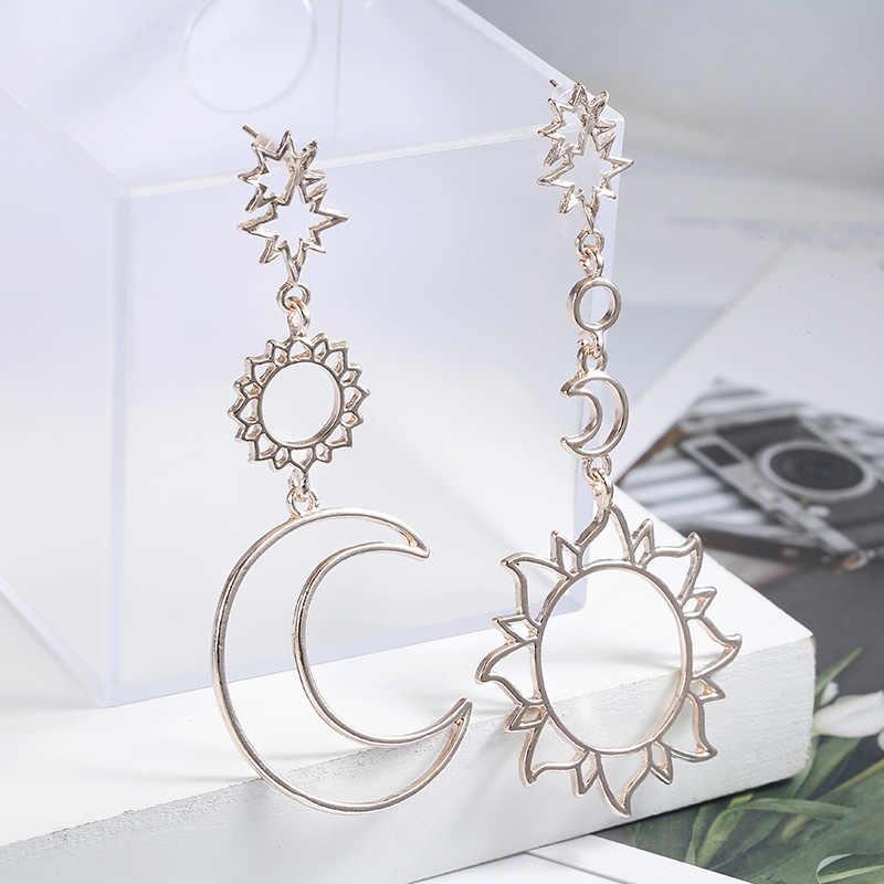2018 г. женские модные ассиметричные серьги полые Солнца и Луны падение кулон для femelle панк pendiente подарочный набор украшений для ушей
