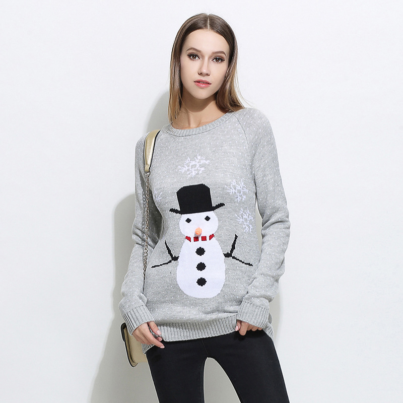 Autumn Winter Christmas Cartoon Snowman Long Sweaters Women Long Sleeve Halloween Slim Knitted Pullovers Thick Sweater Female