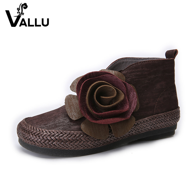 New Arrival Super Soft Women Boots Genuine Leather Flower Ladies Short Shoes Low Heel Handmade Vintage Ankle Boots 100% genuine leather new arrival 2014 brand fashion boots vintage platform shoes short boots
