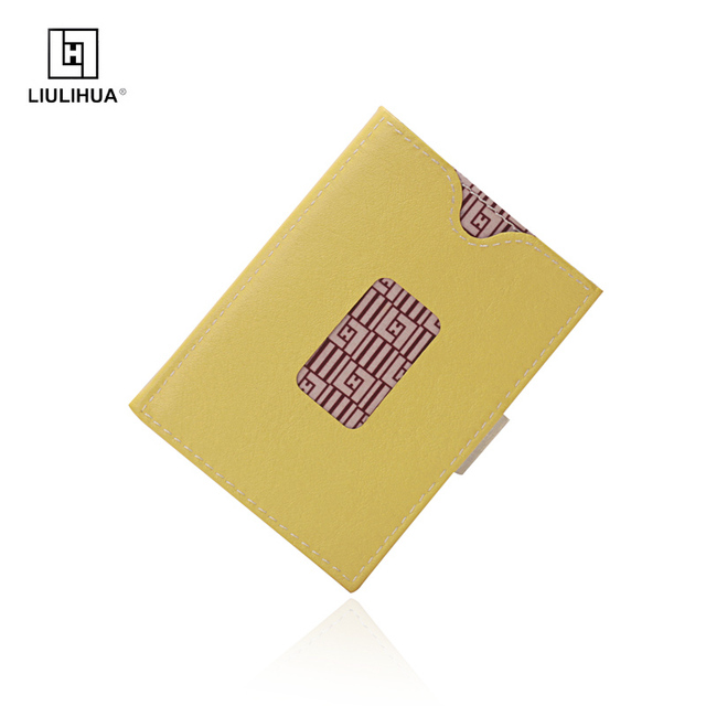 e06680271 Llh moderna titular de la tarjeta crédito cuero amarillo corto billetera  moda llh marca hombres carteras Delgado los