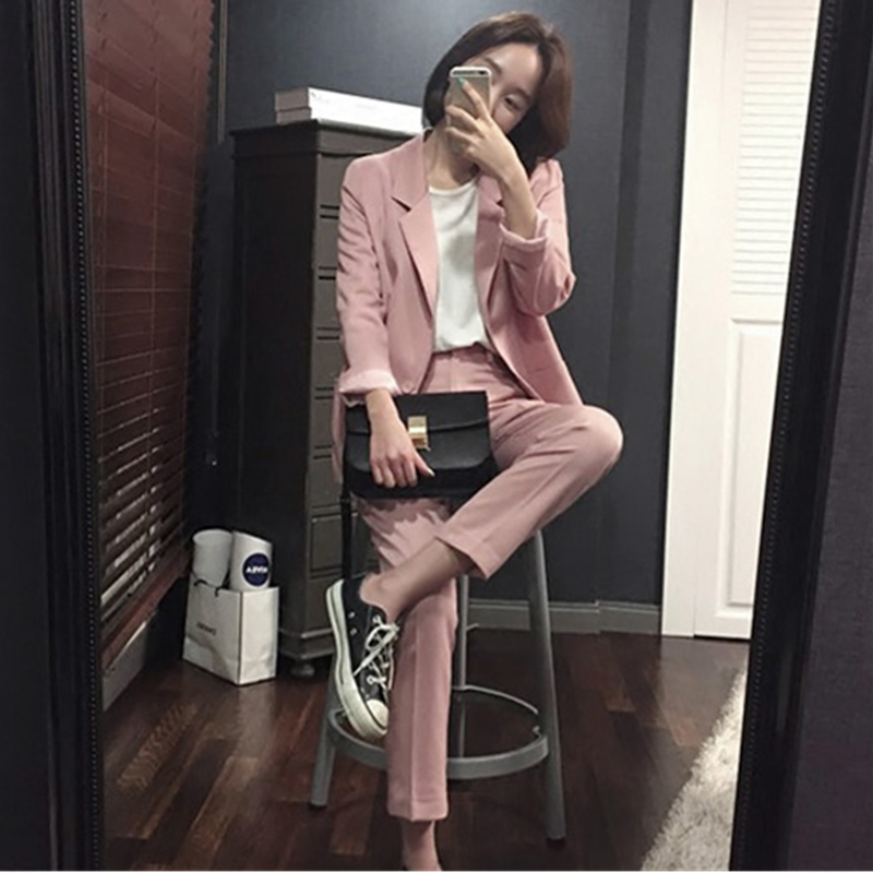Pure Simple Boy friend Jacket nine length Pants dark pink/Black elegant attractive female office laday women suit