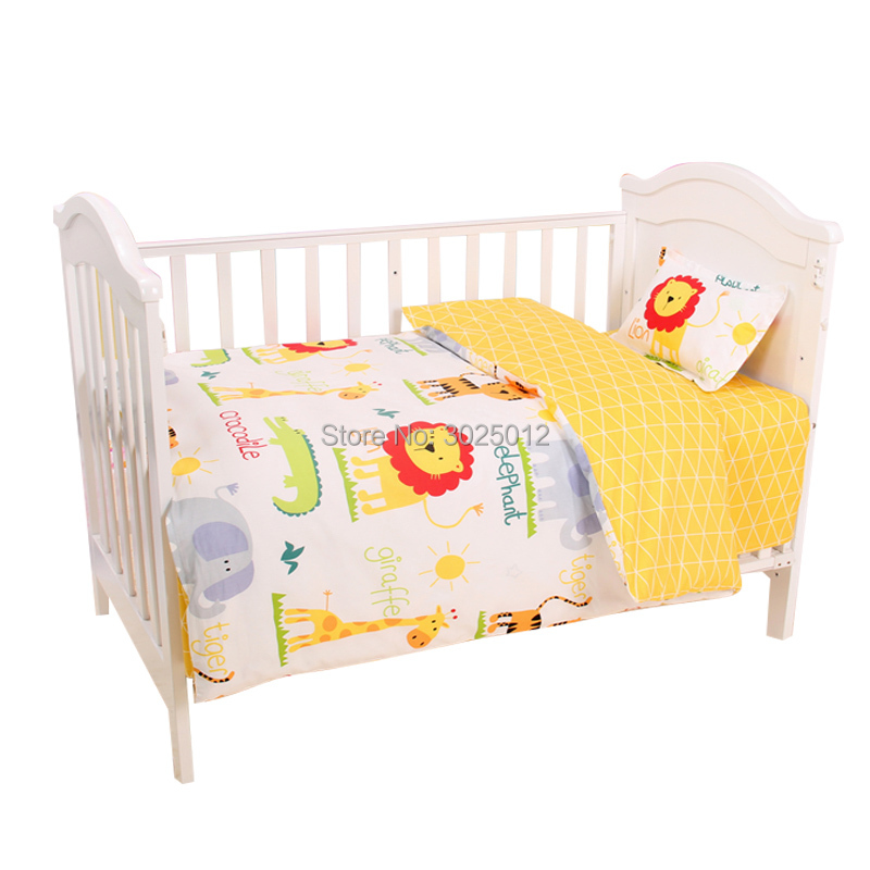 Image 2 - 3Pcs Baby Bedding Set Cartoon Cotton Baby Crib Sets Baby Cot Set Including Pillowcase Flat Sheet  Duvet Cover Without Filling-in Bedding Sets from Mother & Kids