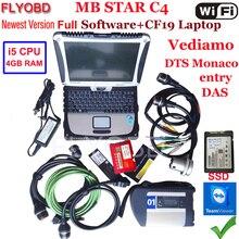 A+++ Качество MB Star C4 SD Подключение с программным обеспечением,09 V SSD ноутбук CF19 PC работа для диагностики ЗВЕЗДЫ c4 диагностический инструмент полный комплект