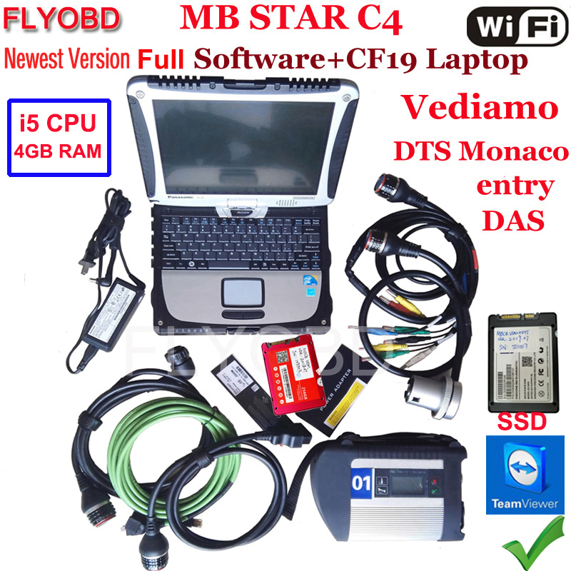 A+++Quality MB Star C4 SD Connect With Software 2019.09V SSD Laptop CF19 PC Work For Star Diagnosis C4 Diagnostic-Tool Full Kit