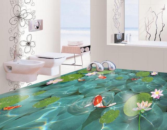 3d Fußboden Wald ~ Chinesische moderne d boden tapete foto kiesel lotus pvc