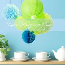 5pcs/set Green  Party Decoration Set Tissue Paper Honeycombs lanterns Birthday Wedding Decor