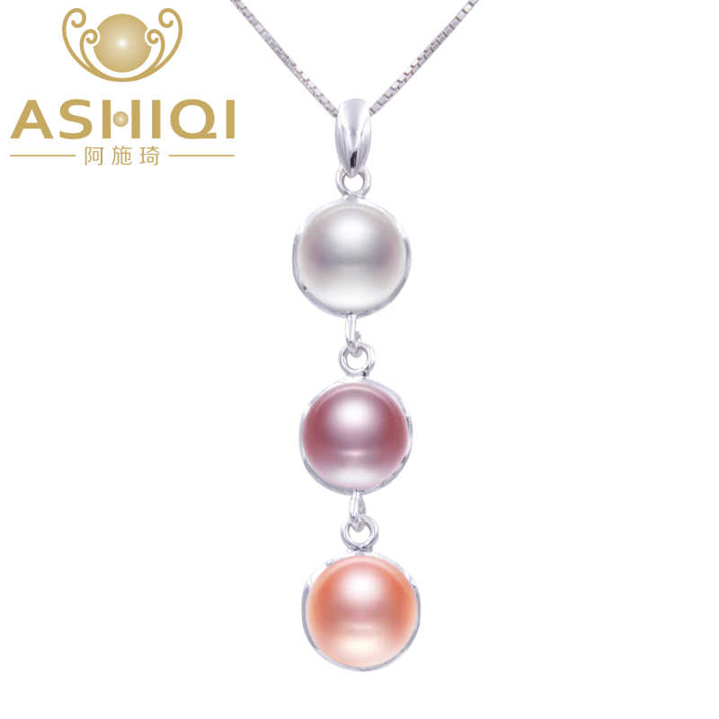 ASHIQI Real Natural Freshwater pearl Necklaces & Pendant with 925 sterling silver chain Multicolor pearls necklace for women