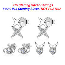 100% 925 Sterling Silver Star Stud Earring Vnistar Angel Wing Ear Studs Wholesale Women Silver Meteor Stud Earrings(China)