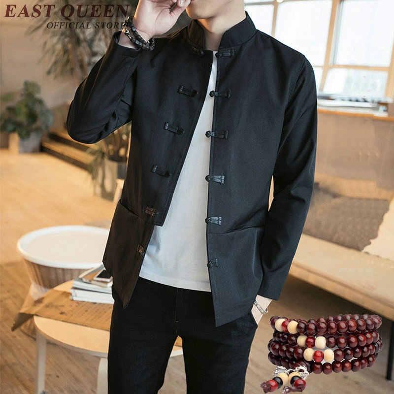 Vestuário tradicional Chinesa para os homens tang terno traje do dragão Bordado bomber jacket mandarim collar cheongsam KK569 W