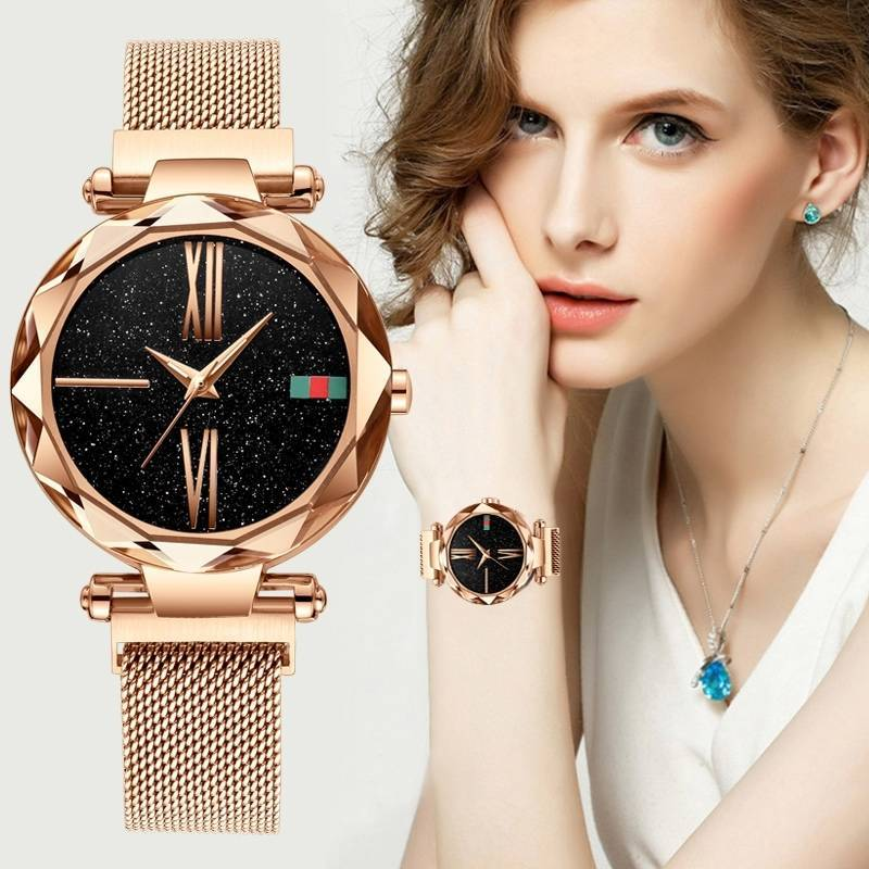 Luxury Rose Gold Ladies Watch Starry Sky Magnetic Watch Waterproof Female Wristwatch For Gift Clock Relogio Feminino Reloj Mujer