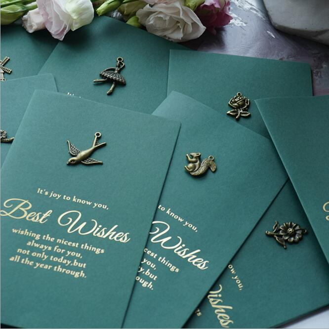 10pcs/lot Retro Metal Gift Envelope Card Birthday Message Papers Card New Year Greeting Wishes Postcard Valentine's Day Card