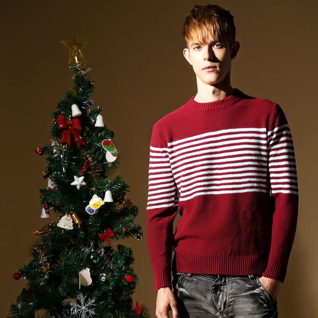 Striped Men Sweater Brand Mens Christmas Sweater Long Sleeve