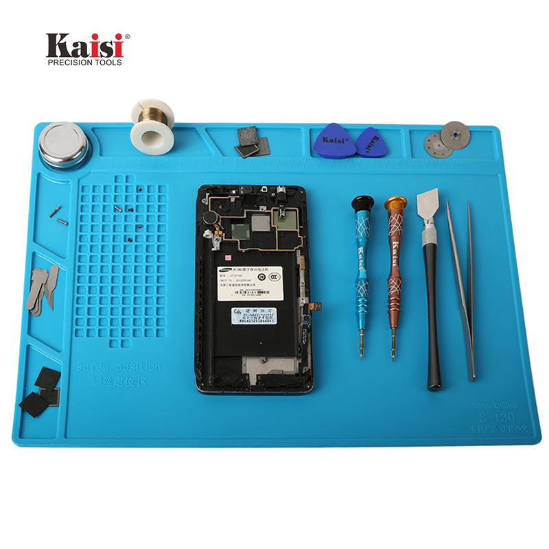 35x25cm Heat Insulation Silicone Pad Electrical Heat Gun Soldering Repair Station Maintenance Platform with Screw Location Mat