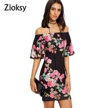 Zioksy New 2017 fashion summer dress women vintage print flare sleeve slash neck casual package hip dresses vestidos