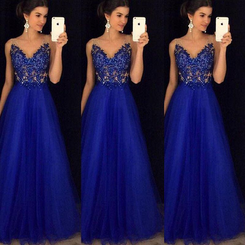 Newest Women Sleeveless Deep V Lace Summer Dress Formal Mesh Hollow ...