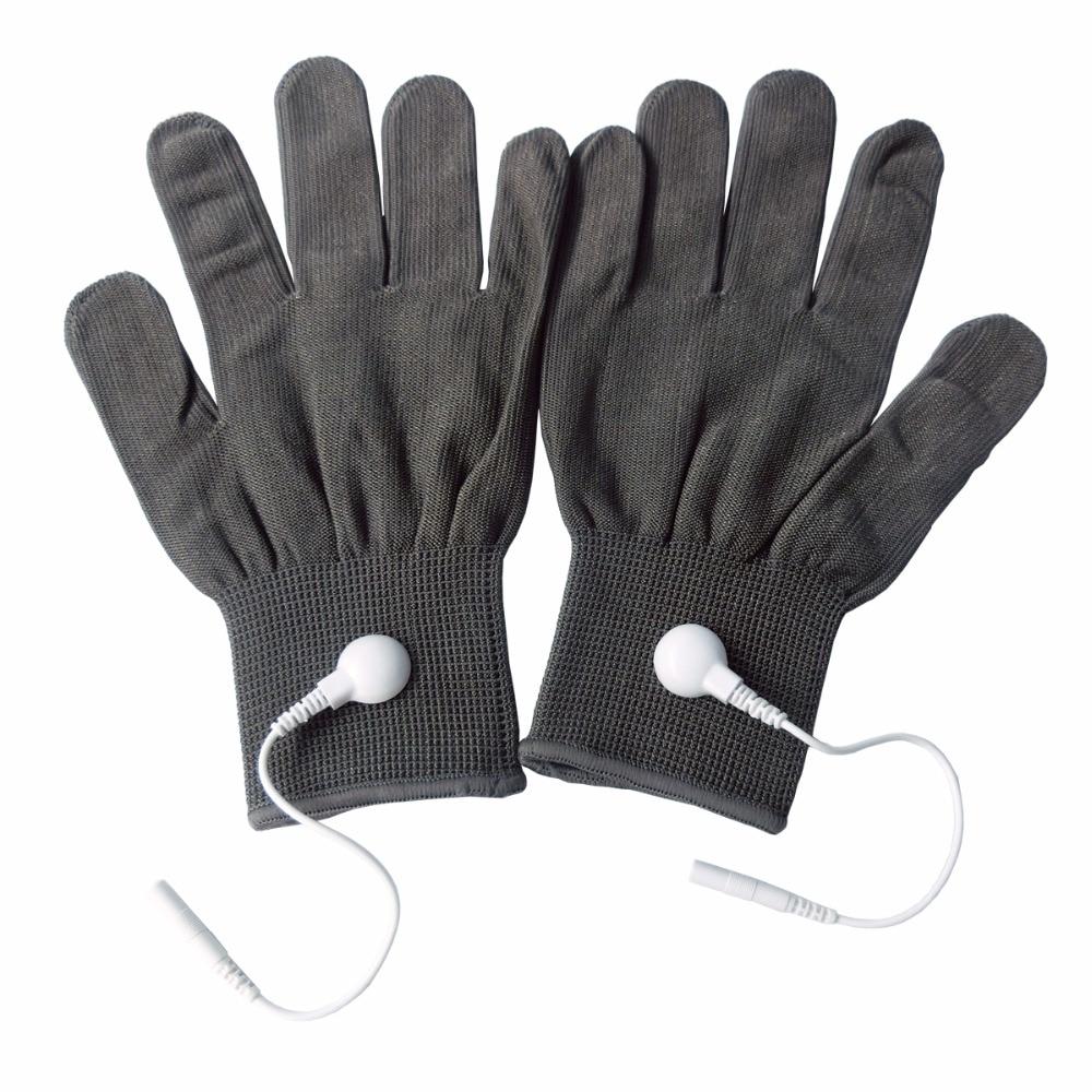 2 Pairs/Pack Conductive Massage Gloves physiotherapy electrotherapy electrode Gloves Deep Gray abeso 2 10 pairs carbon conductive fibre