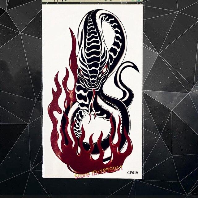Black Fire Poisonous Snake Temporary Tattoo Men Body Art Fake Tatoo 17x10CM Large Arm Waterproof Tattoo Sticker Black Mamba