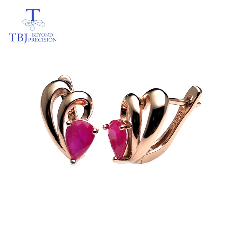 TBJ natural ruby gemstone simple classic design earring in 925 sterling silver rose gold color best