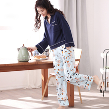 Autumn And Winter Comfortable 100% Cotton Fashion Shirt Collar Sleep Set Casual Loose Lounge