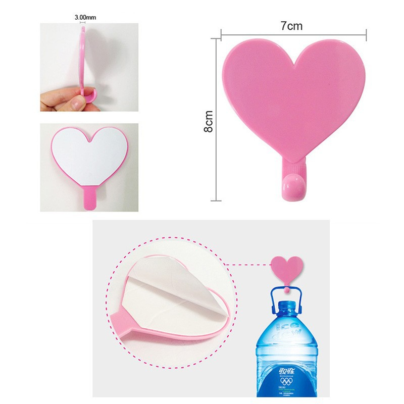 Colorful Love Heart Adhesive Hooks Robe Hooks Wall Hooks Hanger for Home Kitchen Holder DIY Kids Children Rooms Home Decoration (2)