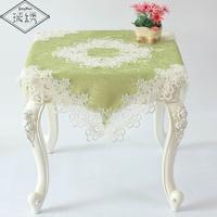 90 cm Quadrat Patchwork Floral Bedruckte Jacquard Damasttischdecke Mit Breite Stickerei Spitzenbesatz