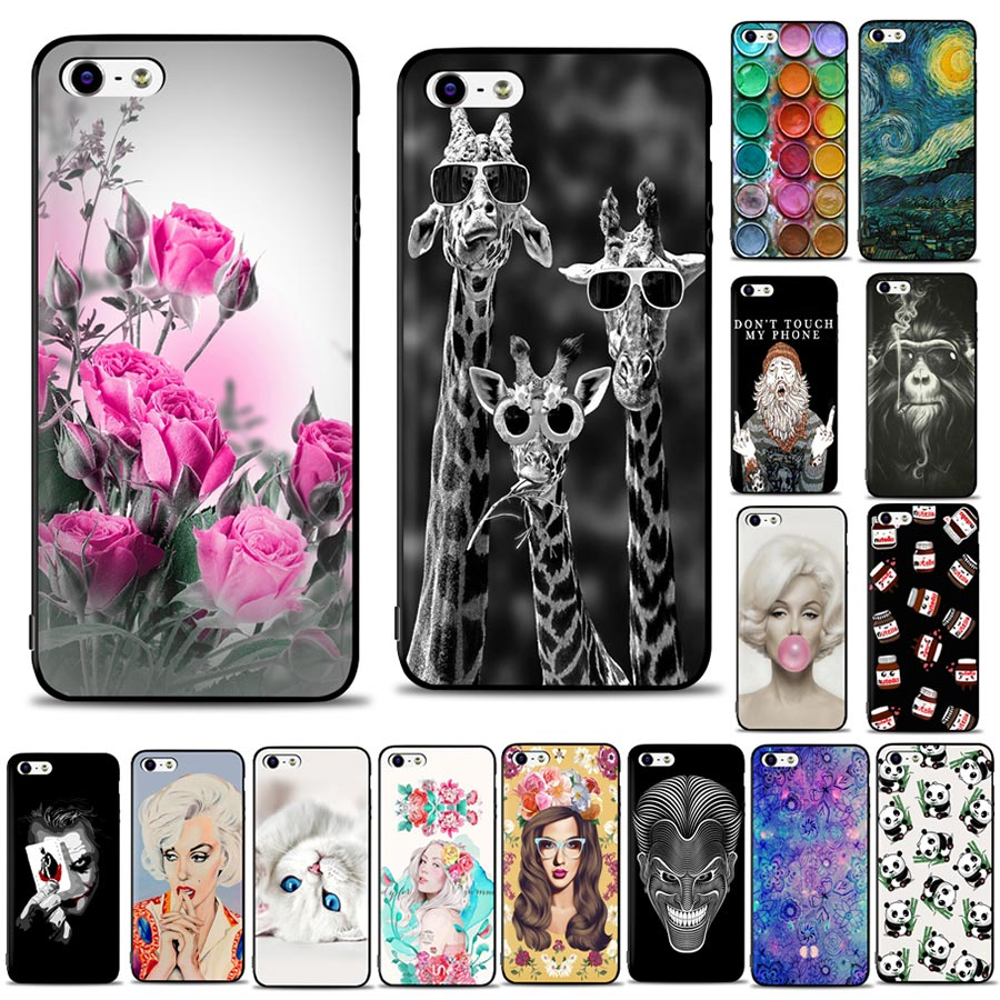 Galleria fotografica Case For Apple iphone 5S Bumper on iphone 5S Phone Housing Soft Silicone Ultra Thin Printing Cover For Coque iphone 5S Case
