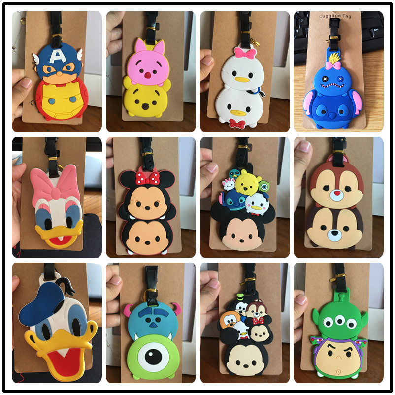 Disney Cartoon Mickey Mouse Luggage Tag Minnie TSUM Suitcase ID Address Holder Baggage Boarding Tag Portable Label Silica