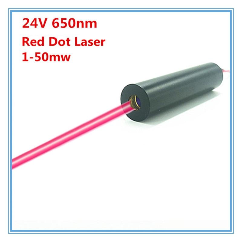 24V DC input 1mw 5mw 10mW 30mw 50mw 650nm Red Laser Dot Diode Module DC input 12mm Industrial Grade