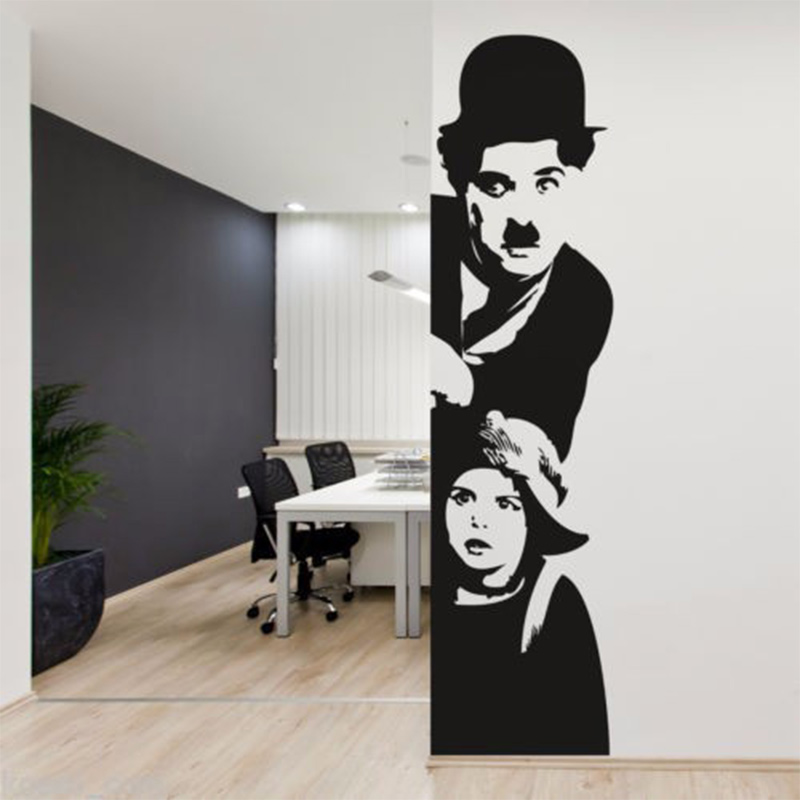 POOMOO Wall Decor CHARLIE CHAPLIN CINEMA Wall Art Sticker Decal DIY Home Decoration Wall ...
