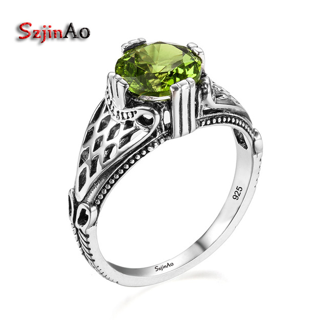 szjinao classic 925 sterling silver finger rings for women youth round peridot engagement rings wedding jewelry - Peridot Wedding Rings