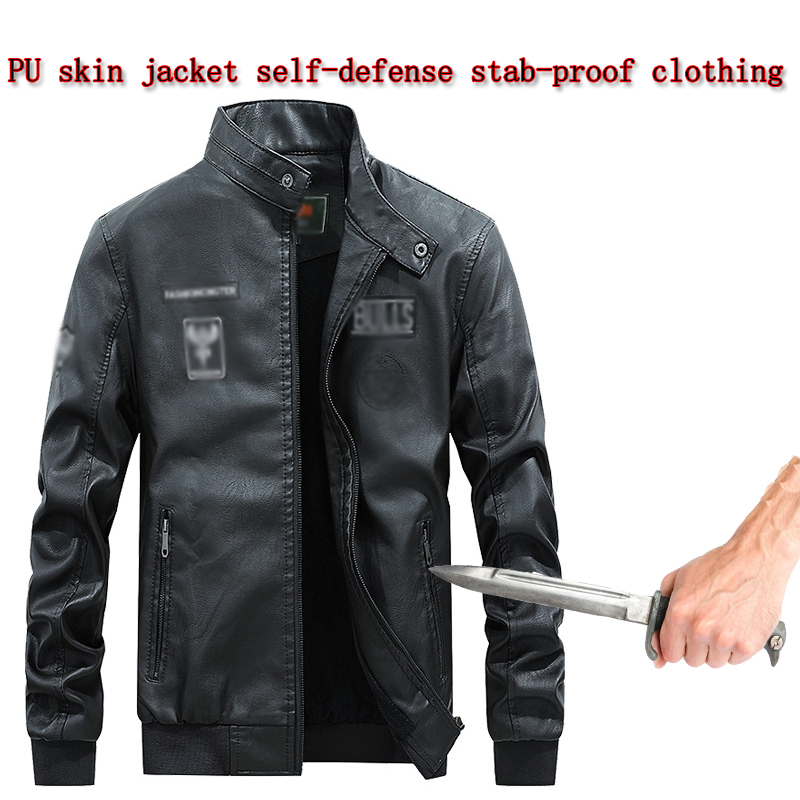 New Self-Defense Anti-Cutting Stab-Resistant Leather Men Jacket Stand Collar Chinese Style Invisible Safety Protective Clothing