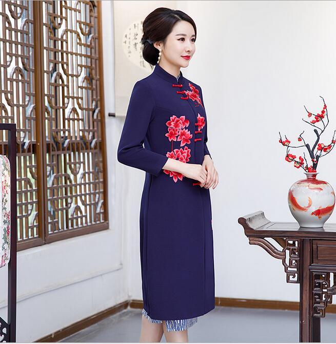 Новое поступление осень зима Китайская традиционная Женская 2 шт Qipao шерсть чеонгсам Новинка китайское торжественное платье Размер M L XL XXL - Цвет: 0873