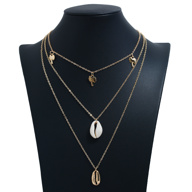 New Fashion 3PCS Set Vintage Shell Tree Leaf Pendant Choker Necklace Gold Silver Clavicle Chain Maxi Delicate Necklace For Women in Pendant Necklaces from Jewelry Accessories