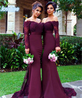 Popular Long Mermaid 2017 Cheap High Quality Bridesmaid Dresses Off The Shoulder Lace Appliques Long Sleeves