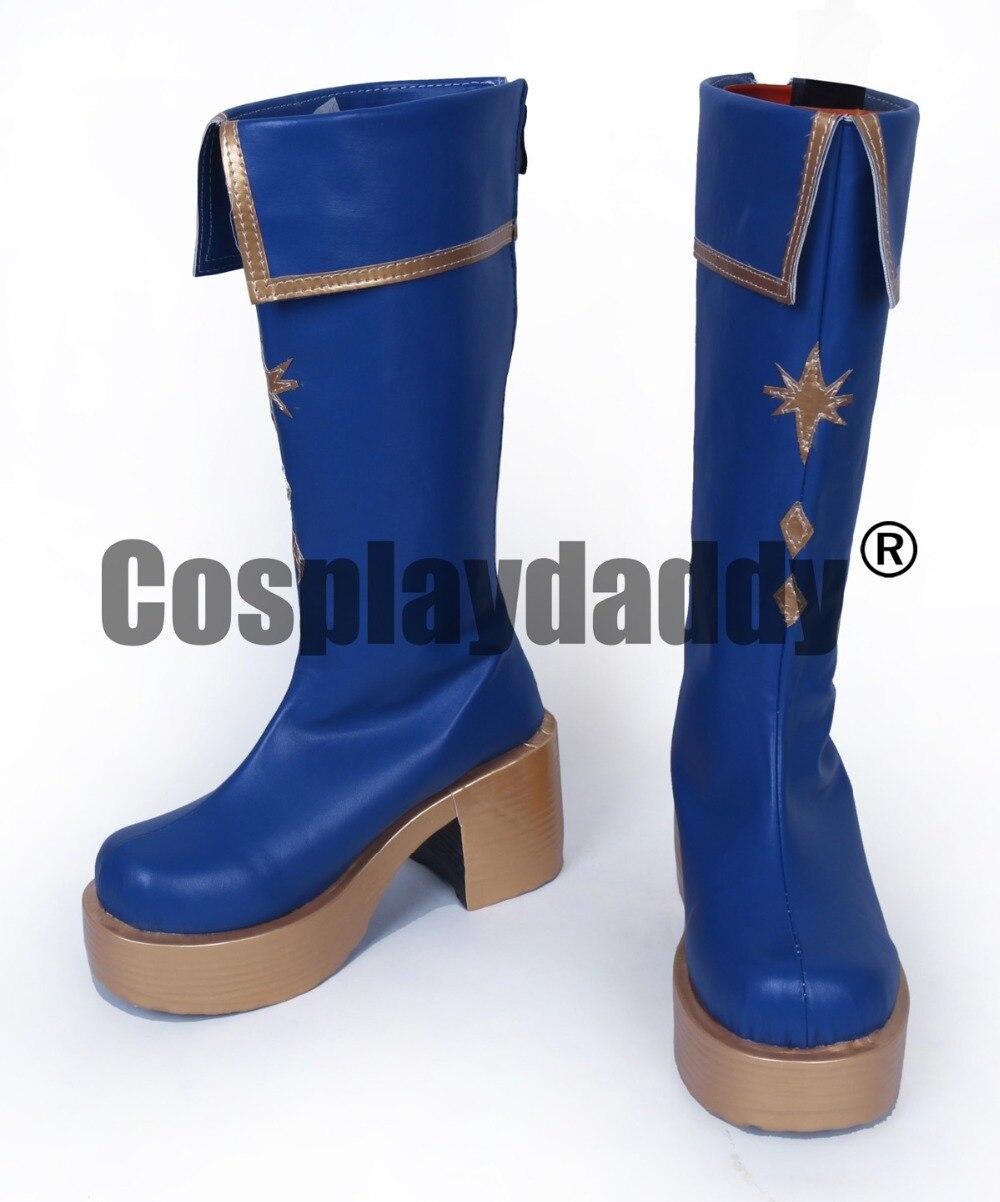 Enseble Star Knights Tsukinaga Leo Blue Long Cosplay Shoes Boots S008