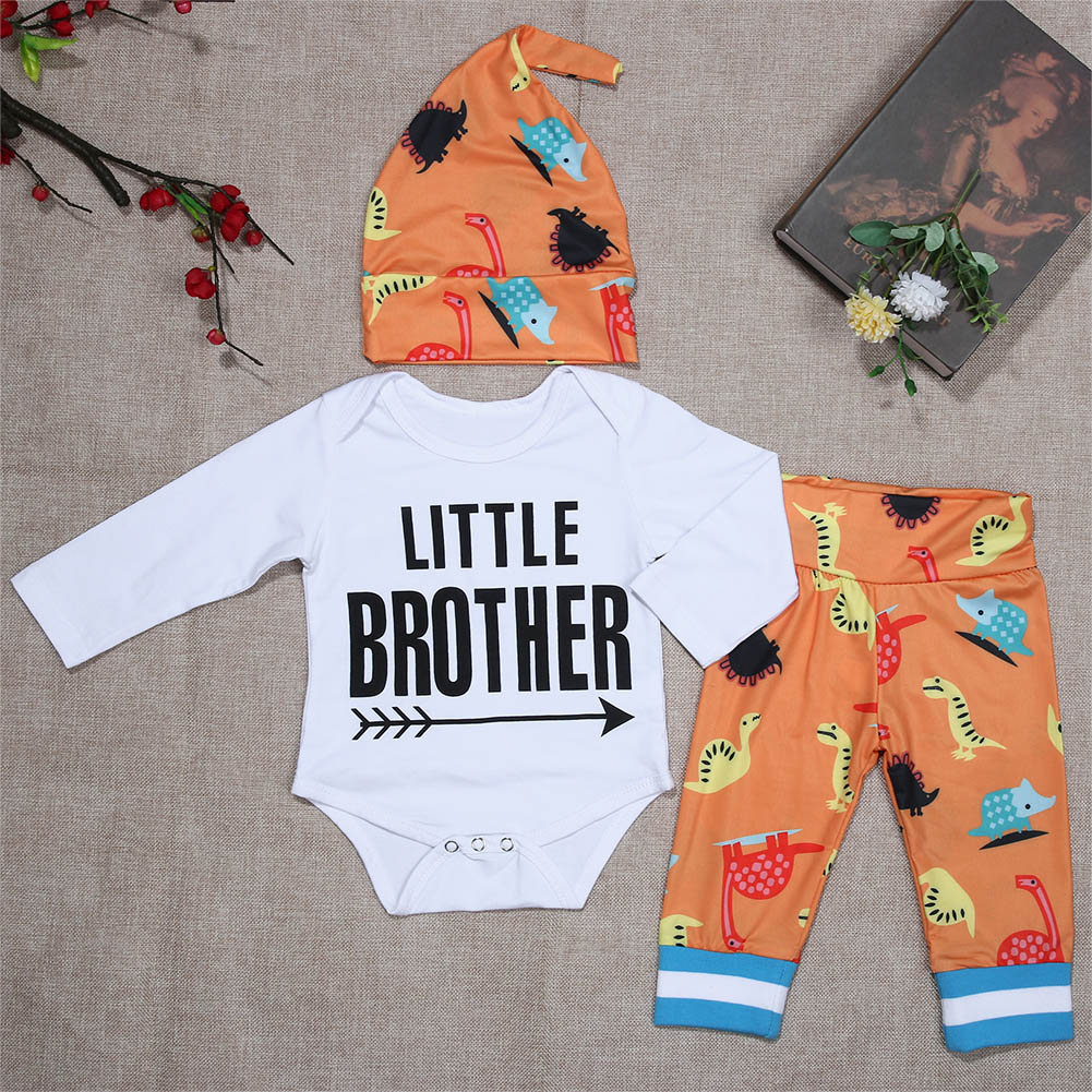 Autumn Fashional Cotton Baby Girl Clothing Set Letter Printed Romper+Dinosaur Pants+Hat 3pcs Outfits Set Cartoon Soft Clothes