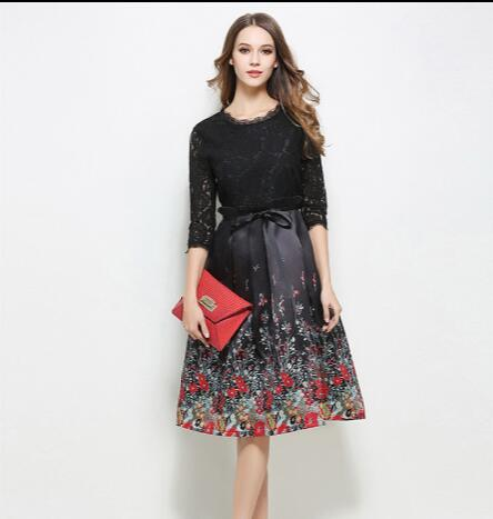 Plus Size Women Lace Dress Summer Style Sexy Thin Lace Patchwork Floral Office Vintage Beach Vestidos Red Black Dress Aw588 Women's Clothing