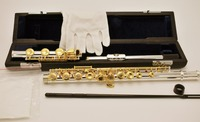 RODWARE RFL 310 17 Key Open Holes Engrarved Flute Silver Plated Body Gold Key B Foot Flute with case