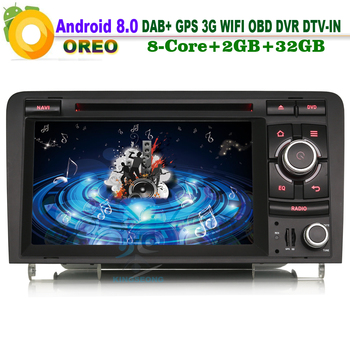 Android 8.0 DAB+ Sat Navi Wifi 3G OBD DVR Bluetooth DVD BT RDS DTV-IN Head Unit Radio Car CD player FOR AUDI A3 S3 RS3 RNSE-PU