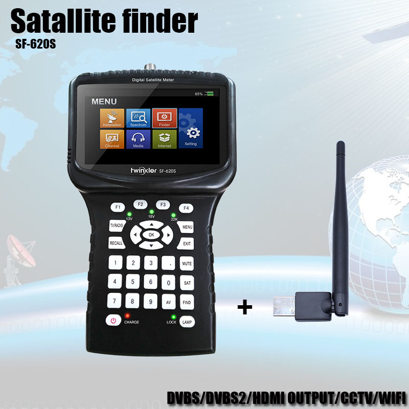 Satellite Finder Meter Support Cccam IPTV WIFI CCTV Receiver Satellite Sat Finder Camera in CVBS DVB S2 <font><b>4.3</b></font> <font><b>inch</b></font> <font><b>LCD</b></font> Screen image