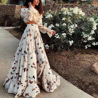 Bohemian Boho Chic Dress Long Print Butterfly Womens Clothing Dresses White Beach Tunic Summer Women Ladies Large Sizes Two Set