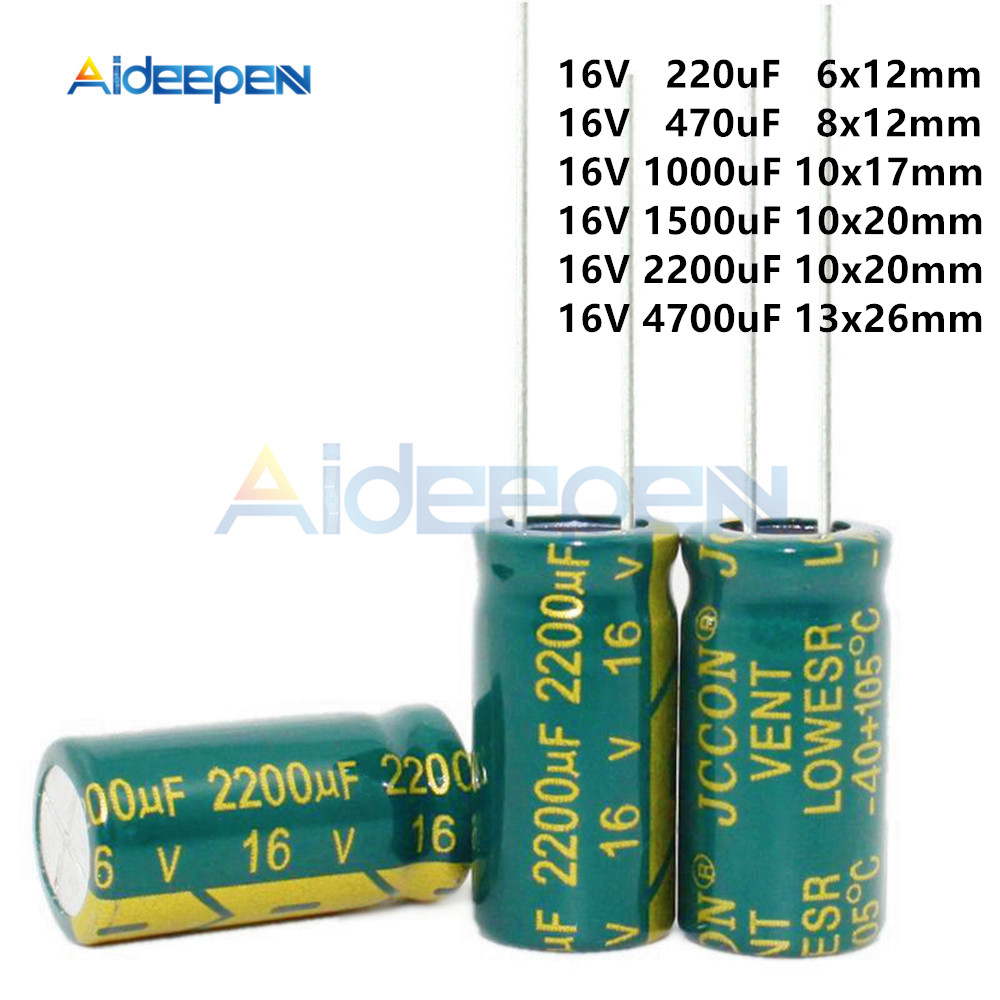 10pcs/Pack 16V 220uF 470uF 1000uF 1500uF 2200uF 4700uF Aluminum Electrolytic Capacitors DIY Kit High Frequency Low Resistance