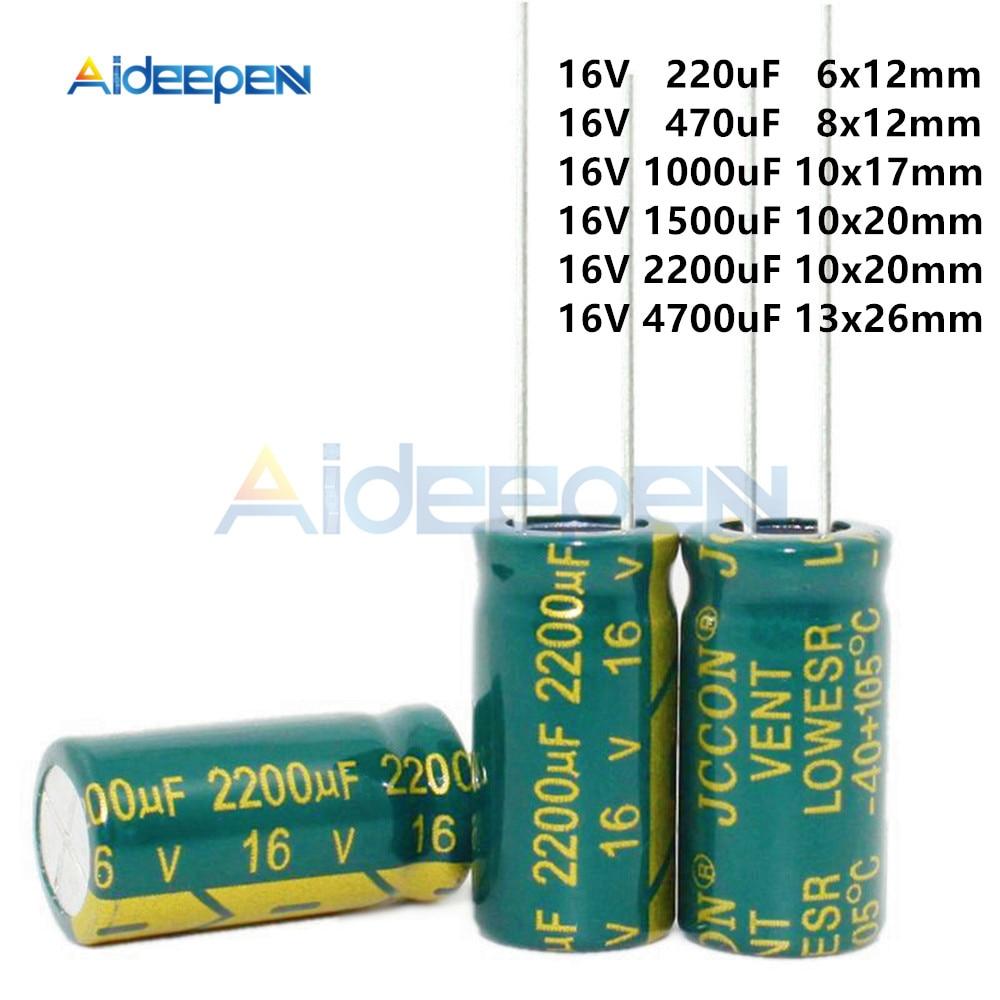 10pcs-pack-16v-220uf-470uf-1000uf-1500uf-2200uf-4700uf-aluminum-electrolytic-capacitors-diy-kit-high-frequency-low-resistance