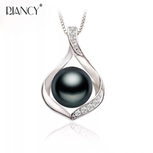 Fashion black Natural freshwater pearl pendant necklaces 925 sterling silver necklace for women bride