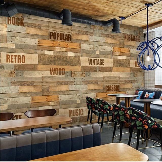 Letter Wood Photo Wallpaper Mural Papel Mural Rollo Restaurant Hotel