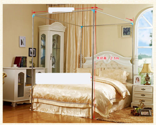 Canopy Stainless Steel Bold Mosquito Nets Bracket Poles Twin Full Queen Calking