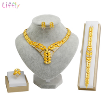 Liffly African Bridal Dubai Gold Jewelry Sets for Women Necklace Bracelet Ring Earrings Nigeria Wedding Bridesmaid Set